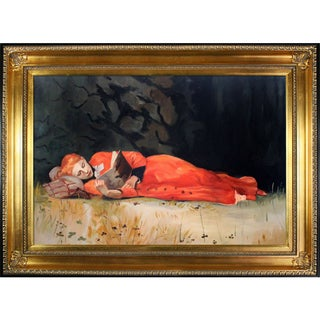 Winslow Homer 'The New Novel' Hand Painted Framed Canvas Art