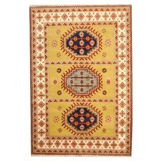 Herat Oriental Indo Hand-knotted Tribal Kazak Wool Rug (5'10 x 8'6)