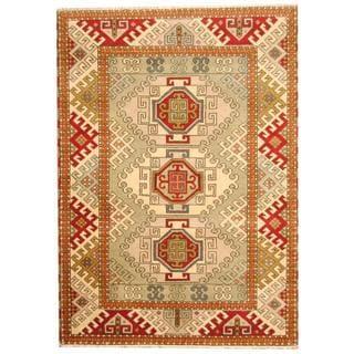 Herat Oriental Indo Hand-knotted Tribal Kazak Light Green/ Red Wool Rug (5'8 x 7'11)
