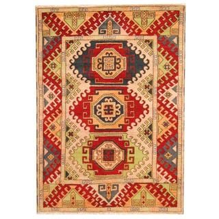 Herat Oriental Indo Hand-knotted Tribal Kazak Burgundy/ Black Wool Rug (5'8 x 7'11)