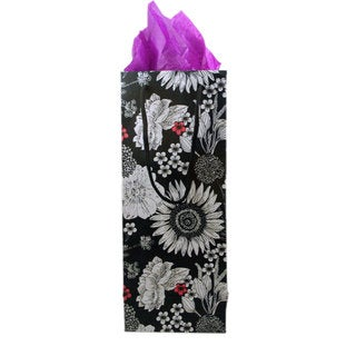Set of 2 Hand-crafted Fleur Recycled Cotton Wine Gift Bags (India)