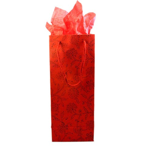 Set of 2 Handmade Red Floral Recycled Cotton Wine Gift Bags (India)