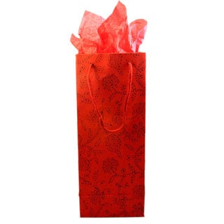 Set of 2 Hand-crafted Red Floral Recycled Cotton Wine Gift Bags (India)