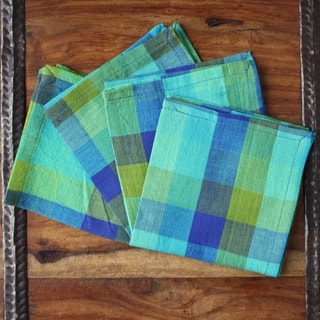 Set of 4 Hand-woven Aqua Checkered Cotton Napkins (India)