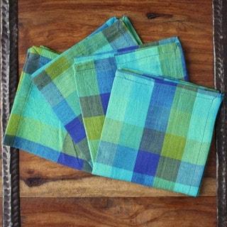 Set of 4 Hand-woven Aqua Checkered Cotton Napkins (India)