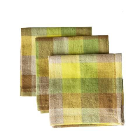 Set of 4 Handmade Checkered Yellow Napkins (India)