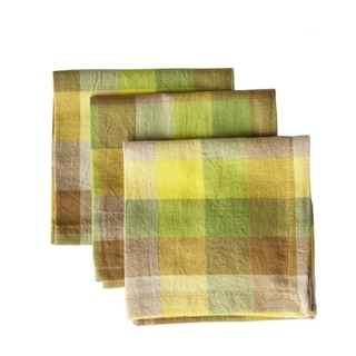 Set of 4 Hand-woven Checkered Yellow Napkins (India)