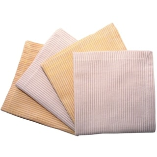 Set of 4 Hand-woven Striped Honey Napkins (India)