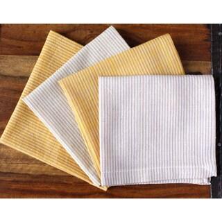 Set of 4 Handmade Striped Honey Napkins (India)