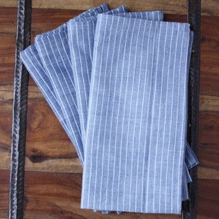 Set of 4 Handmade Valiant Blue Cotton Napkins (India)