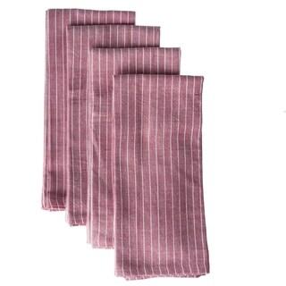Set of 4 Handmade Red Stripe Cotton Napkins (India)