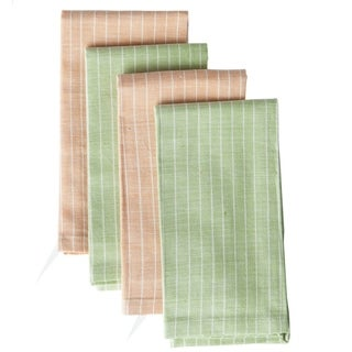 Set of 4 Hand-woven Orange and Lime Cotton Napkins (India)
