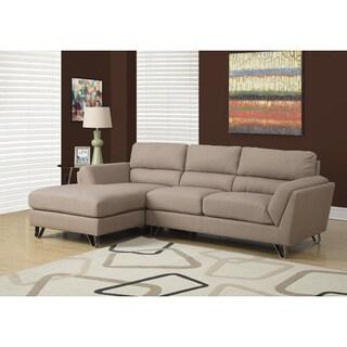 Light Brown Linen Sectional Sofa Lounger
