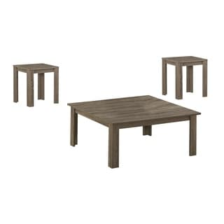 Dark Taupe Reclaimed-look 3-piece Square Table Set