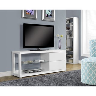 White Hollow-core TV Console with Tempered Glass