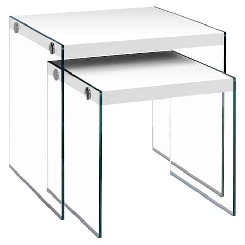 Glossy White Tempered Glass 2-piece Nesting Table Set