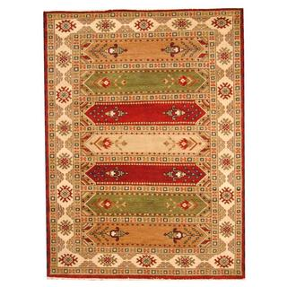 Herat Oriental Indo Hand-knotted Tribal Kazak Gray/ Red Wool Rug (5'10 x 7'10)