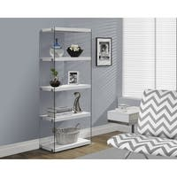 Glossy White Hollow-core Tempered Glass Bookcase