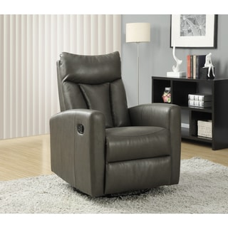 Charcoal Grey Bonded Leather Swivel/ Gliding Recliner