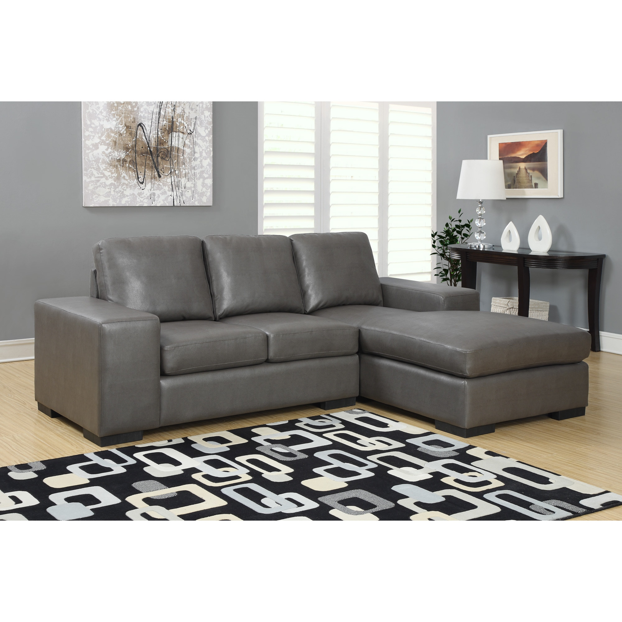 Monarch Charcoal Grey Bonded Leather Sectional Sofa Loung...