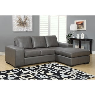 Charcoal Grey Bonded Leather Sectional Sofa Lounger