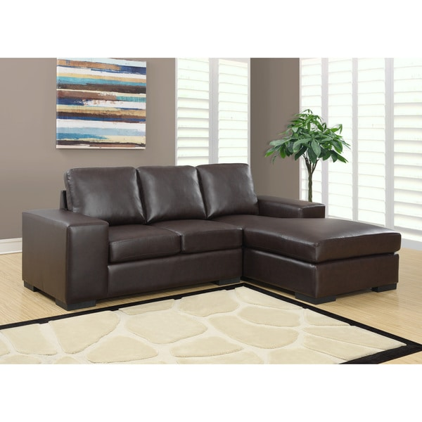 Dark Brown Bonded Leather Sectional Sofa Lounger