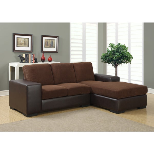 Dark Brown Corduroy and Bonded Leatherette Sofa