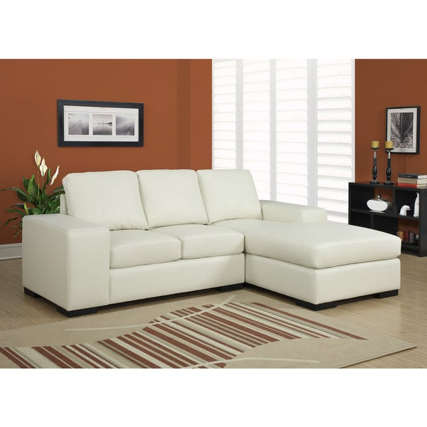 Ivory Bonded Leather Sectional Sofa Lounger