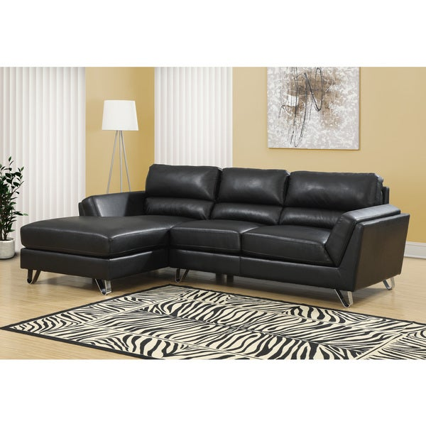 Astonishing Black Bonded Leather Match Sectional Sofa Lounger Caraccident5 Cool Chair Designs And Ideas Caraccident5Info