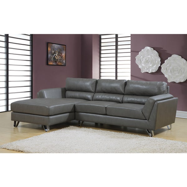 Leather Match Sofa: Charcoal Grey Bonded Leather/ Match Sectional Sofa Lounger