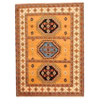 Herat Oriental Indo Hand-knotted Tribal Kazak Gold/ Blue Wool Rug (5'9 x 7'10)