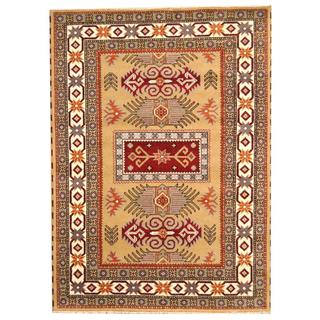 Herat Oriental Indo Hand-knotted Tribal Kazak Light Green/ Burgundy Wool Rug (5'9 x 7'11)