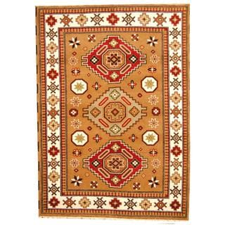 Herat Oriental Indo Hand-knotted Tribal Kazak Tan/ Burgundy Wool Rug (5'8 x 7'11)