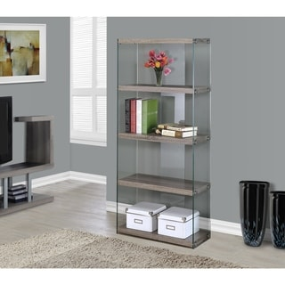 Dark Taupe and Tempered Glass Reclaimed Look Bookcase