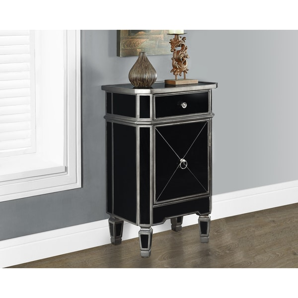 Shop Brushed Charcoal Grey And Black Mirrored Accent Table Free Shipping Today Overstock