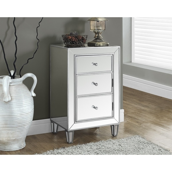 Brushed Silver Mirrored 29-inch Accent Table