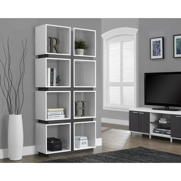 White and Grey Hollow Core 71-inch Bookcase