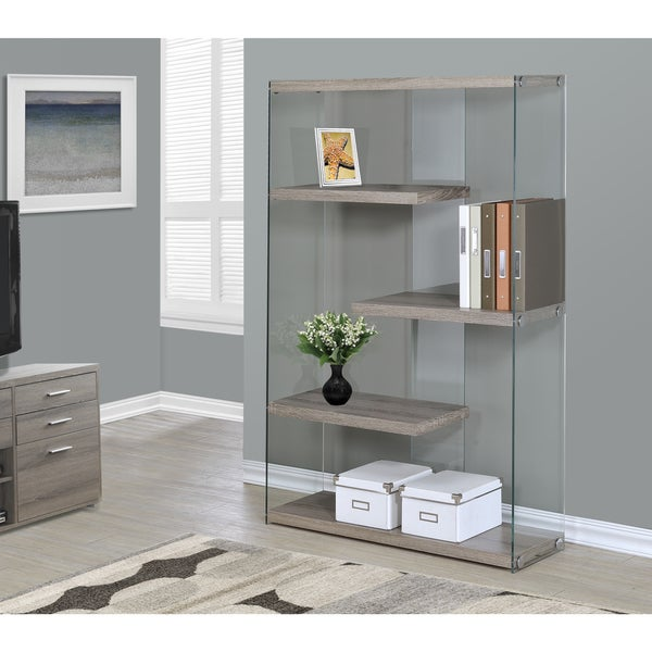 Dark Taupe and Tempered Glass 60-inch Bookcase