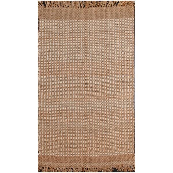 Simple and Elegant Contemporary Beige Textured Area Rug (5' x 8')