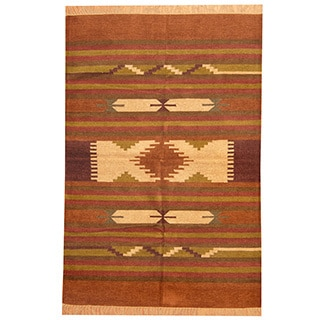 Herat Oriental Indo Hand-woven Chenille Dhurrie Wool Rug (4' x 6')