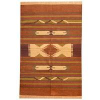 Herat Oriental Indo Hand-woven Chenille Dhurrie Wool Rug (4' x 6') - 4' x 6'
