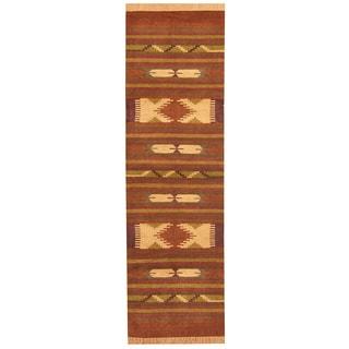 Herat Oriental Indo Hand-woven Chenille Dhurrie Rust/ Brown Wool Rug (2'6 x 8')
