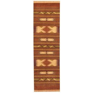 Herat Oriental Indo Hand-woven Chenille Dhurrie Wool Runner (2'6 x 8') - 2'6 x 8'