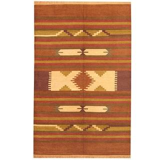 Herat Oriental Indo Hand-woven Chenille Dhurrie Rust/ Brown Wool Rug (6' x 9')