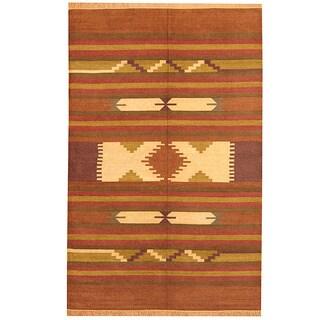 Handmade Herat Oriental Indo Chenille Dhurrie Wool Rug (India) - 6' x 9'