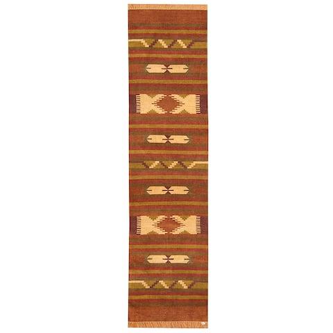 "Handmade Herat Oriental Indo Chenille Dhurrie Wool Runner (India) - 2'6"" x 10'"