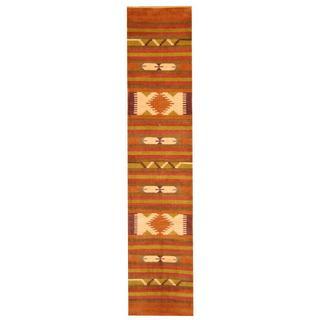 Herat Oriental Indo Hand-woven Chenille Dhurrie Wool Runner (2'6 x 12')