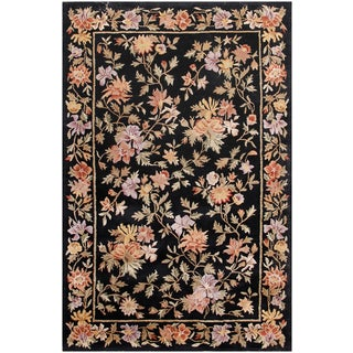 ABC Accents Stylish and Elegant Black Wool Floral Area Rug (5' x 8')