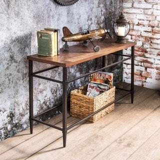 Furniture of America Wise Industrial Oak Solid Wood Sofa Table