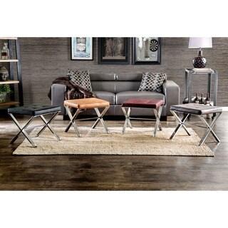 Furniture Of America Silvette Modern Tufted Leatherette Ottoman